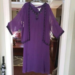 Purple (eggplant) dress/ sheer jacket /beaded trim
